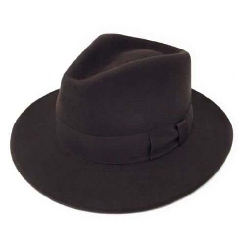 Brown Fedora Hat:  Wool, Crushable - Indy
